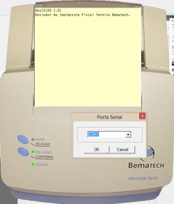 Foto da impressora virtual bematech com configuração de porta serial