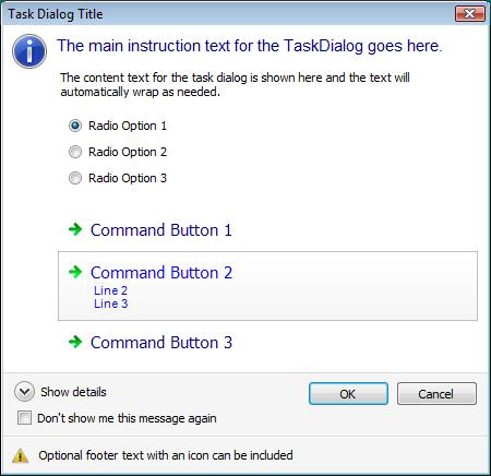 Demonstrativo com todas as opções de customização da task dialog
